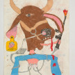 Camilo Restrepo. <em>Ñeñe</em>, 2021. Water-soluble wax pastel, ink, tape and saliva on paper 11 3/4 x 8 1/4 inches (29.8 x 21 cm) thumbnail