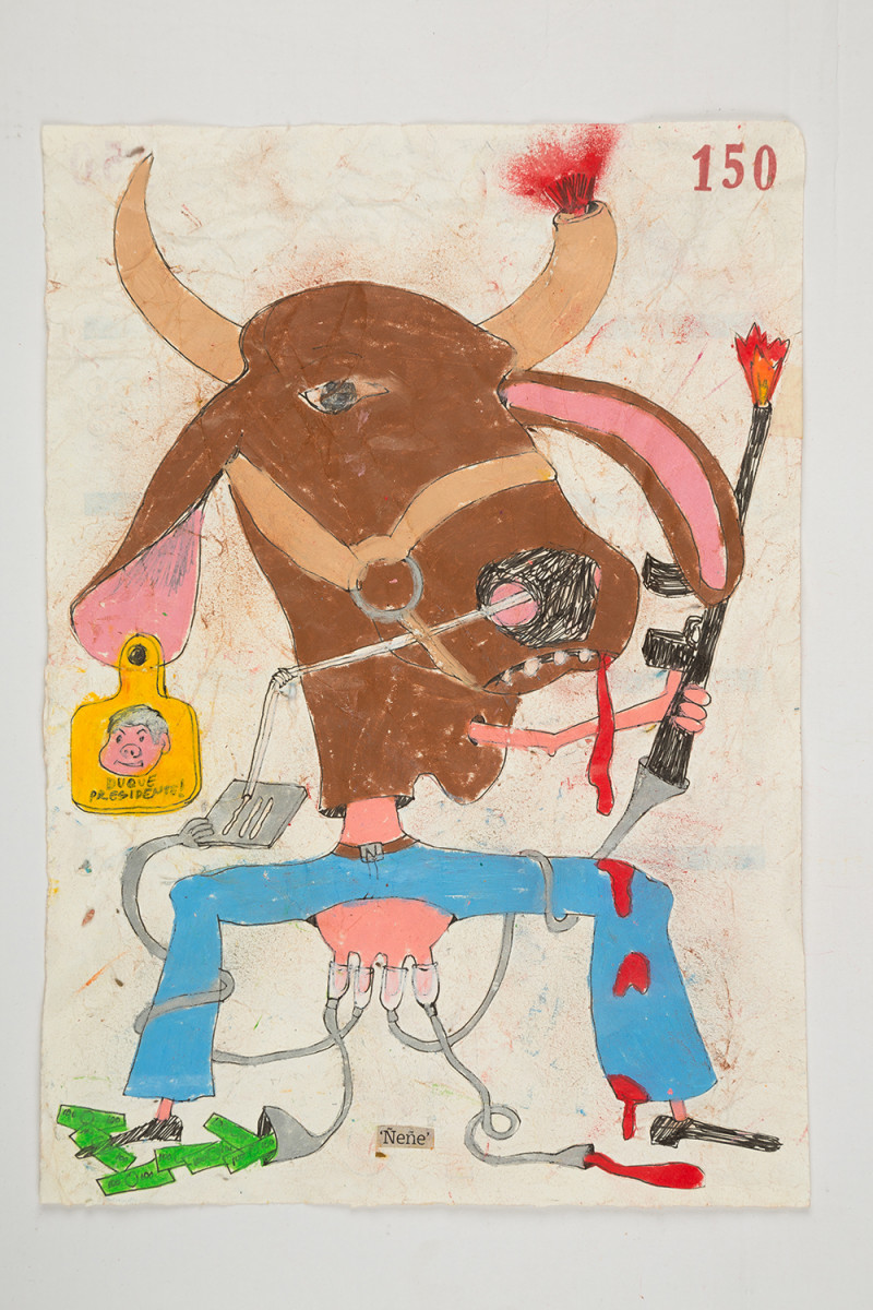 Camilo Restrepo. <em>Ñeñe</em>, 2021. Water-soluble wax pastel, ink, tape and saliva on paper 11 3/4 x 8 1/4 inches (29.8 x 21 cm)