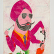 Camilo Restrepo. <em>Jasser</em>, 2021. Water-soluble wax pastel, ink, tape and saliva on paper 11 3/4 x 8 1/4 inches (29.8 x 21 cm) thumbnail