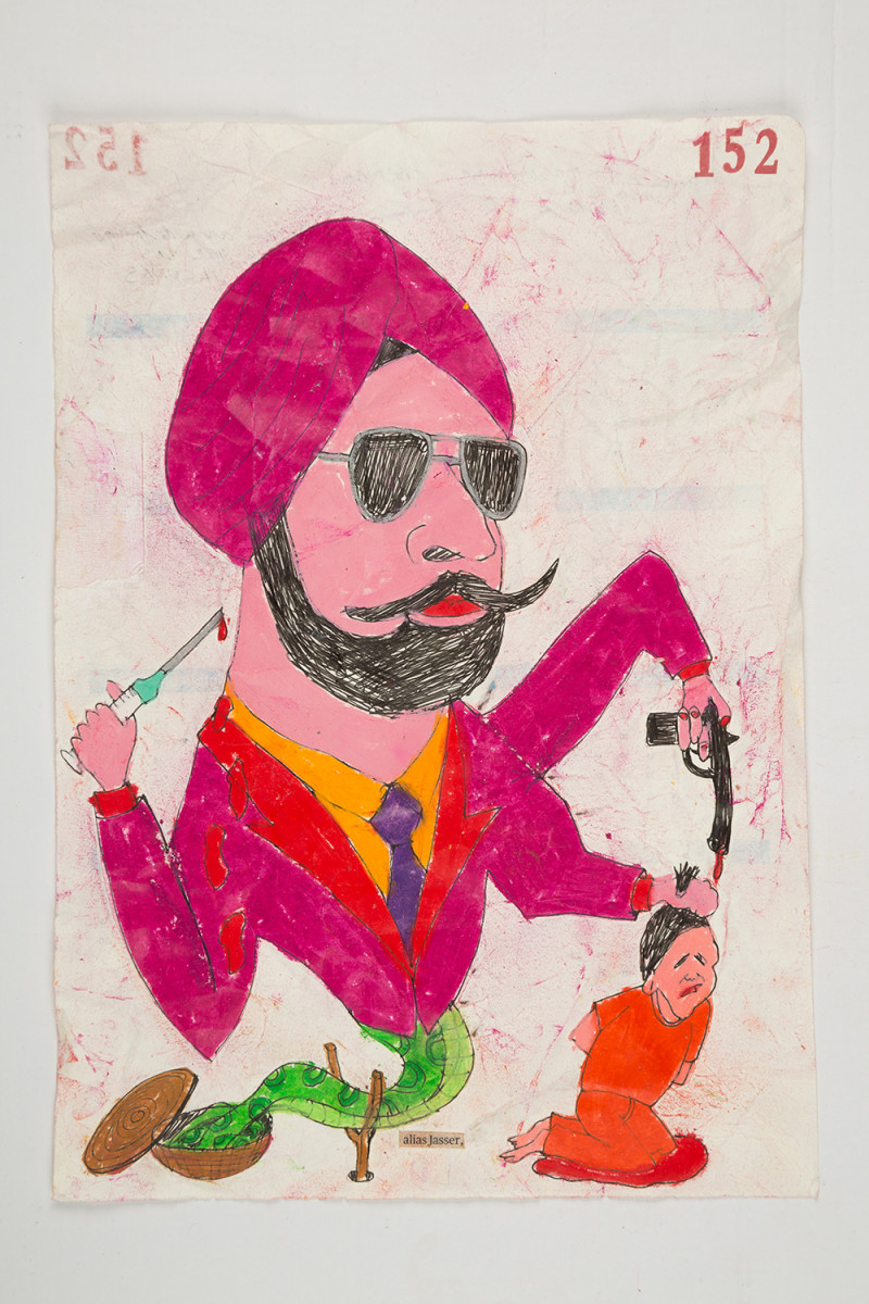 Camilo Restrepo. <em>Jasser</em>, 2021. Water-soluble wax pastel, ink, tape and saliva on paper 11 3/4 x 8 1/4 inches (29.8 x 21 cm)