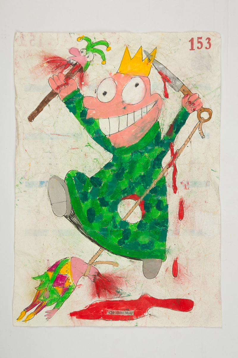 Camilo Restrepo. <em>Chiquito Malo</em>, 2021. Water-soluble wax pastel, ink, tape and saliva on paper 11 3/4 x 8 1/4 inches (29.8 x 21 cm)