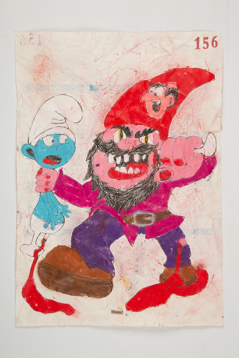 Camilo Restrepo. <em>Enano</em>, 2021. Water-soluble wax pastel, ink, tape and saliva on paper 11 3/4 x 8 1/4 inches (29.8 x 21 cm)