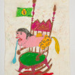 Camilo Restrepo. <em>Cayita</em>, 2021. Water-soluble wax pastel, ink, tape and saliva on paper 11 3/4 x 8 1/4 inches (29.8 x 21 cm) thumbnail
