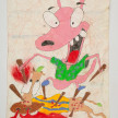 Camilo Restrepo. <em>Roco</em>, 2021. Water-soluble wax pastel, ink, tape and saliva on paper 11 3/4 x 8 1/4 inches (29.8 x 21 cm) thumbnail