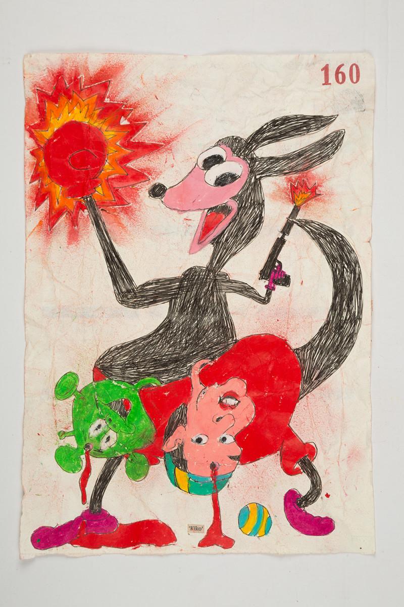 Camilo Restrepo. <em>Kiko</em>, 2021. Water-soluble wax pastel, ink, tape and saliva on paper 11 3/4 x 8 1/4 inches (29.8 x 21 cm)