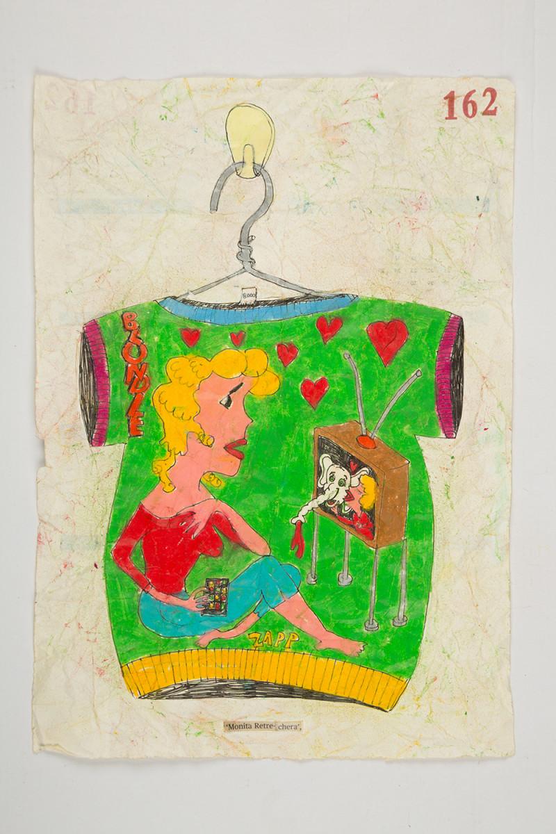 Camilo Restrepo. <em>Monita Retrechera</em>, 2021. Water-soluble wax pastel, ink, tape and saliva on paper 11 3/4 x 8 1/4 inches (29.8 x 21 cm)