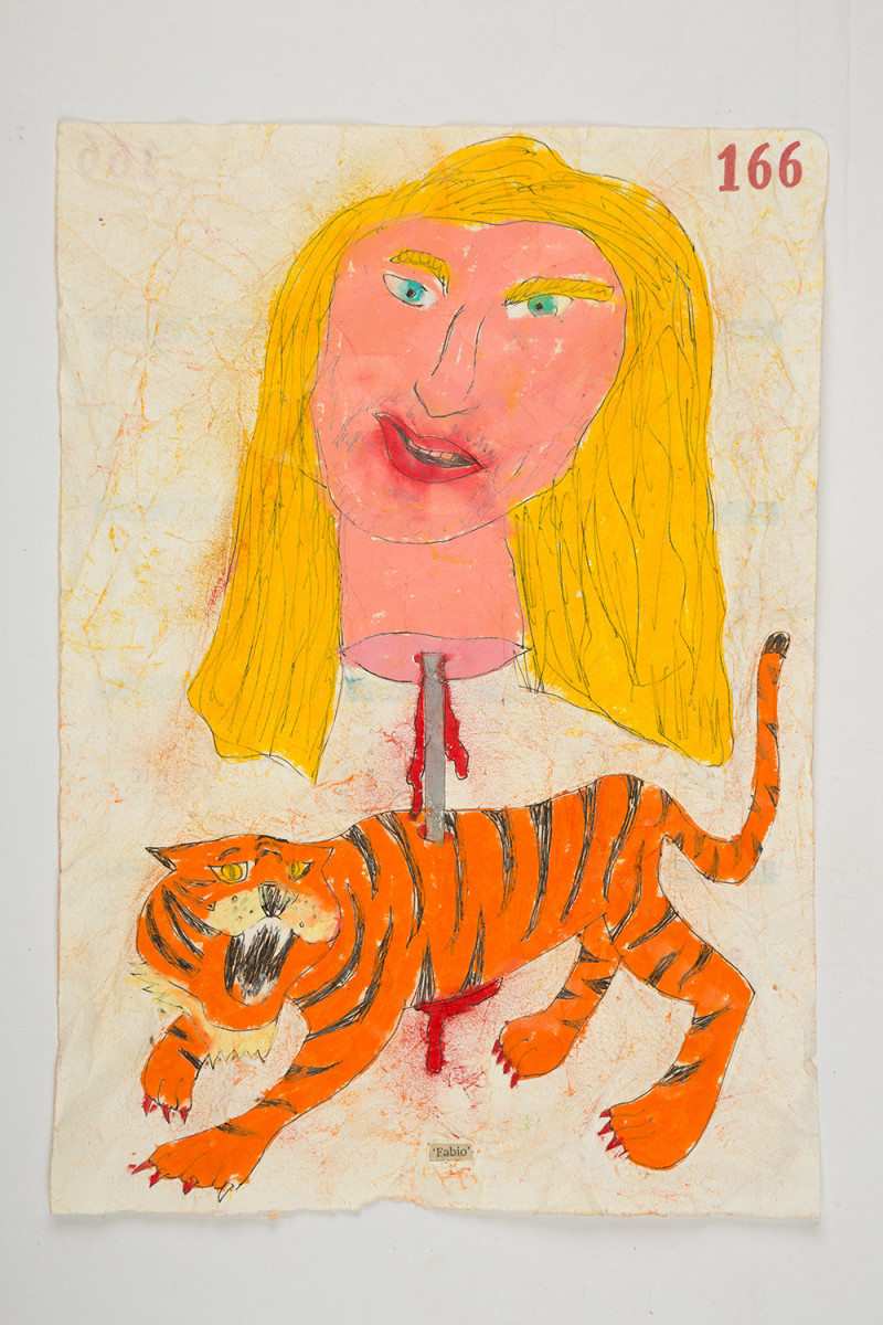 Camilo Restrepo. <em>Fabio</em>, 2021. Water-soluble wax pastel, ink, tape and saliva on paper 11 3/4 x 8 1/4 inches (29.8 x 21 cm)