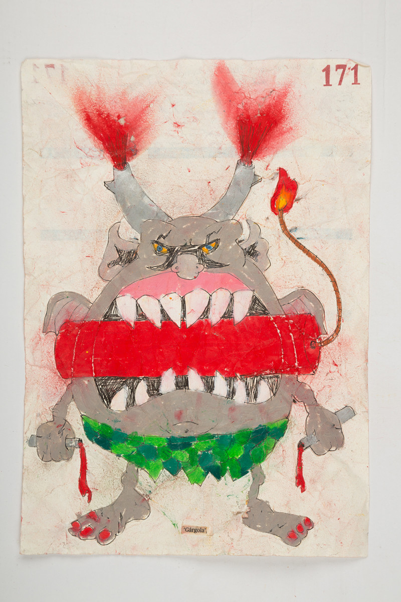 Camilo Restrepo. <em>Gàrgola</em>, 2021. Water-soluble wax pastel, ink, tape and saliva on paper 11 3/4 x 8 1/4 inches (29.8 x 21 cm)