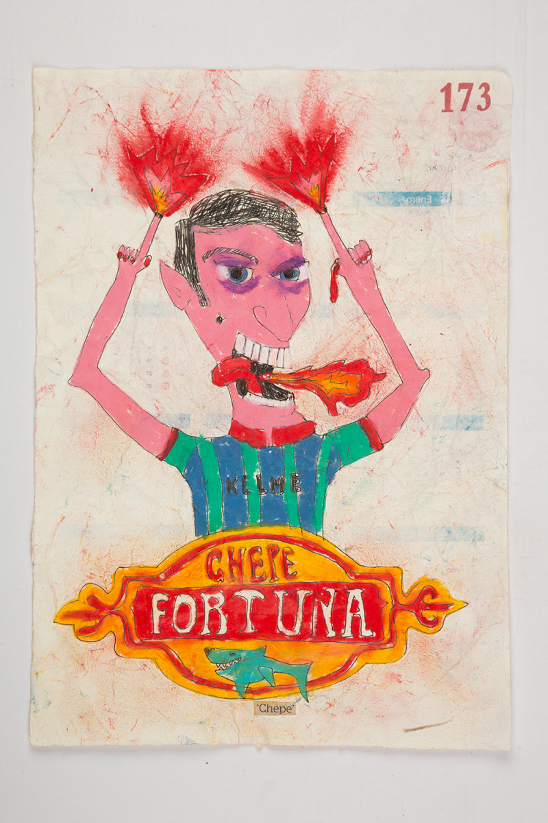 Camilo Restrepo. <em>Chepe</em>, 2021. Water-soluble wax pastel, ink, tape and saliva on paper 11 3/4 x 8 1/4 inches (29.8 x 21 cm)