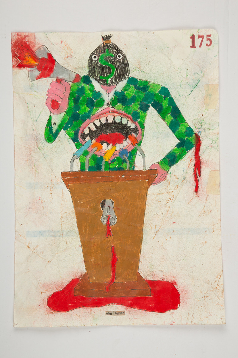 Camilo Restrepo. <em>Polìtico</em>, 2021. Water-soluble wax pastel, ink, tape and saliva on paper 11 3/4 x 8 1/4 inches (29.8 x 21 cm)