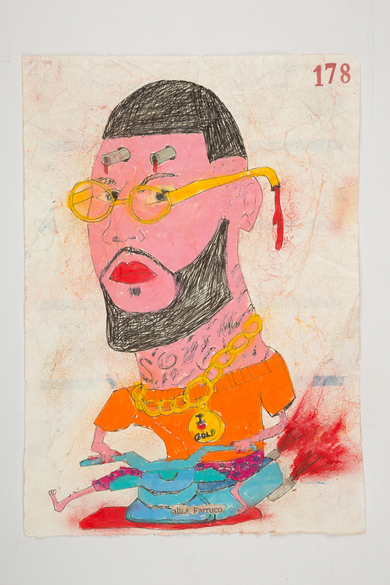 Camilo Restrepo. <em>Farruco</em>, 2021. Water-soluble wax pastel, ink, tape and saliva on paper 11 3/4 x 8 1/4 inches (29.8 x 21 cm)