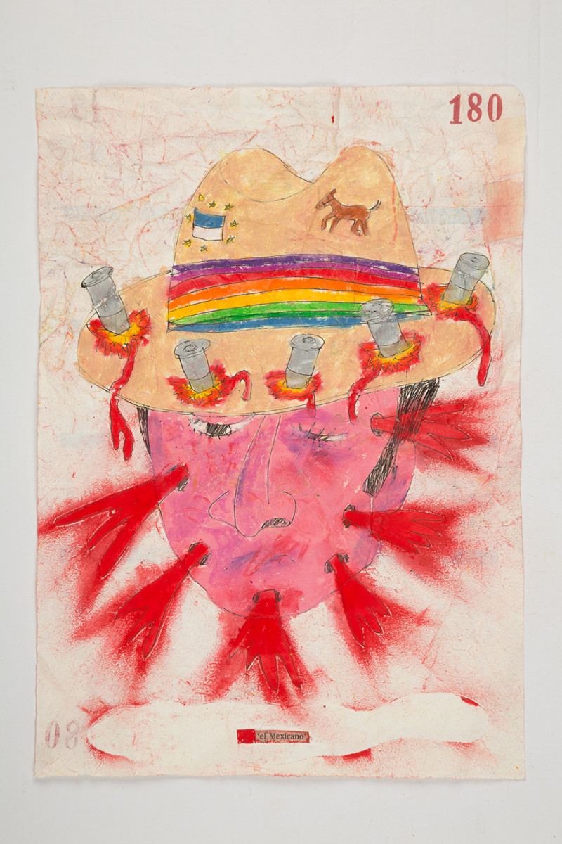 Camilo Restrepo. <em>Mexicano</em>, 2021. Water-soluble wax pastel, ink, tape and saliva on paper 11 3/4 x 8 1/4 inches (29.8 x 21 cm)