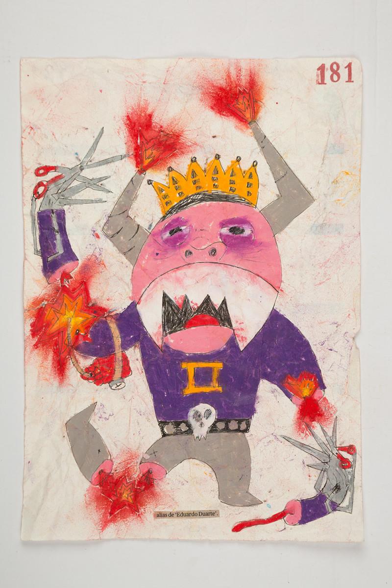 Camilo Restrepo. <em>Eduardo Duarte</em>, 2021. Water-soluble wax pastel, ink, tape and saliva on paper 11 3/4 x 8 1/4 inches (29.8 x 21 cm)