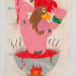 Camilo Restrepo. <em>Pollo</em>, 2021. Water-soluble wax pastel, ink, tape and saliva on paper 11 3/4 x 8 1/4 inches (29.8 x 21 cm) thumbnail