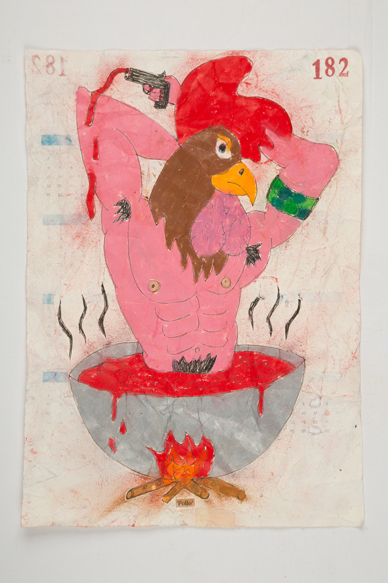 Camilo Restrepo. <em>Pollo</em>, 2021. Water-soluble wax pastel, ink, tape and saliva on paper 11 3/4 x 8 1/4 inches (29.8 x 21 cm)