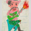 Camilo Restrepo. <em>HH</em>, 2021. Water-soluble wax pastel, ink, tape and saliva on paper 11 3/4 x 8 1/4 inches (29.8 x 21 cm) thumbnail