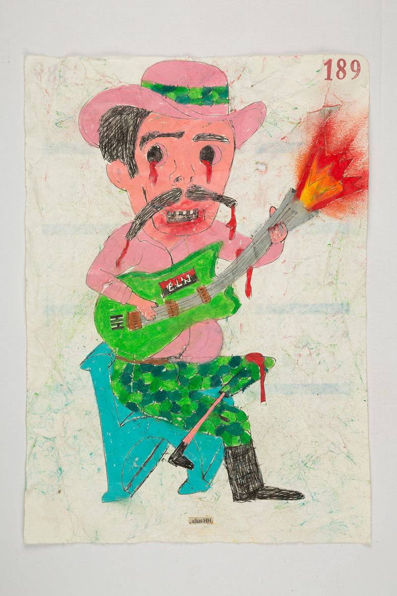 Camilo Restrepo. <em>HH</em>, 2021. Water-soluble wax pastel, ink, tape and saliva on paper 11 3/4 x 8 1/4 inches (29.8 x 21 cm)