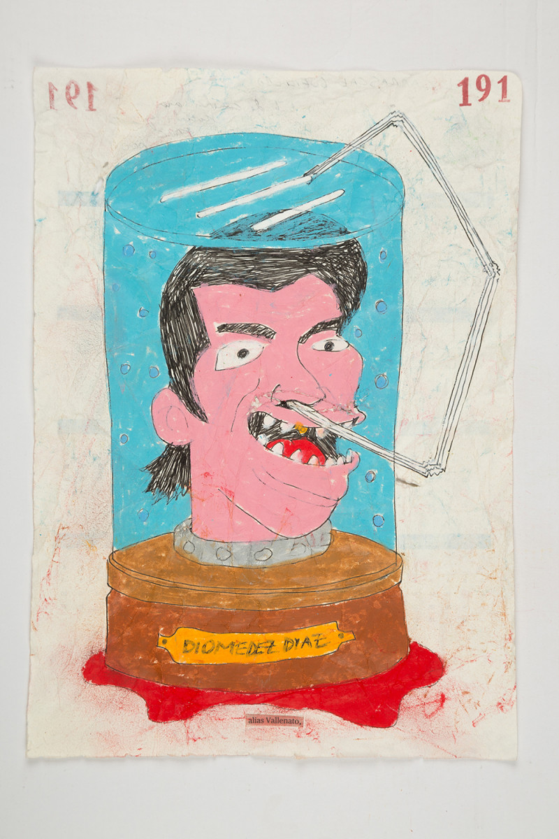 Camilo Restrepo. <em>Vallenato</em>, 2021. Water-soluble wax pastel, ink, tape and saliva on paper 11 3/4 x 8 1/4 inches (29.8 x 21 cm)