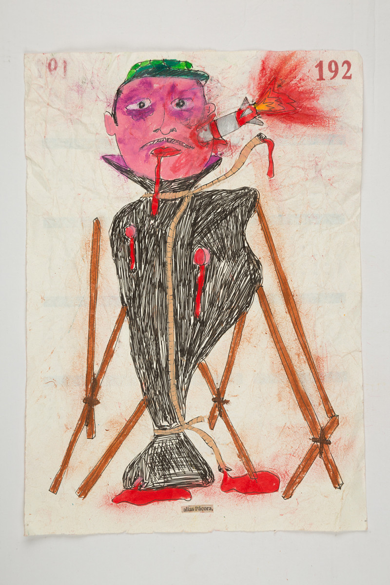 Camilo Restrepo. <em>Pàcora</em>, 2021. Water-soluble wax pastel, ink, tape and saliva on paper 11 3/4 x 8 1/4 inches (29.8 x 21 cm)