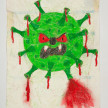 Camilo Restrepo. <em>Caremalo</em>, 2021. Water-soluble wax pastel, ink, tape and saliva on paper 11 3/4 x 8 1/4 inches (29.8 x 21 cm) thumbnail