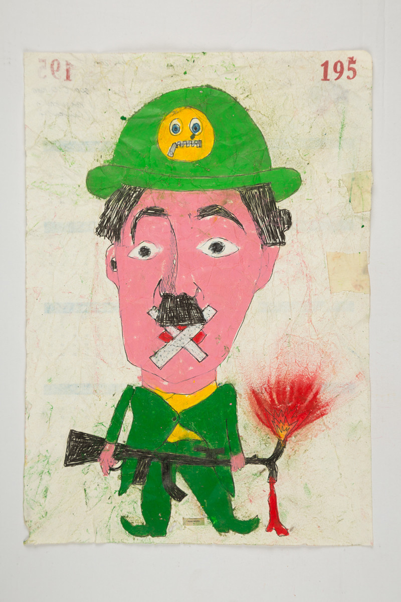 Camilo Restrepo. <em>Mudo</em>, 2021. Water-soluble wax pastel, ink, tape and saliva on paper 11 3/4 x 8 1/4 inches (29.8 x 21 cm)