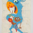 Camilo Restrepo. <em>Azul</em>, 2021. Water-soluble wax pastel, ink, tape and saliva on paper 11 3/4 x 8 1/4 inches (29.8 x 21 cm) thumbnail