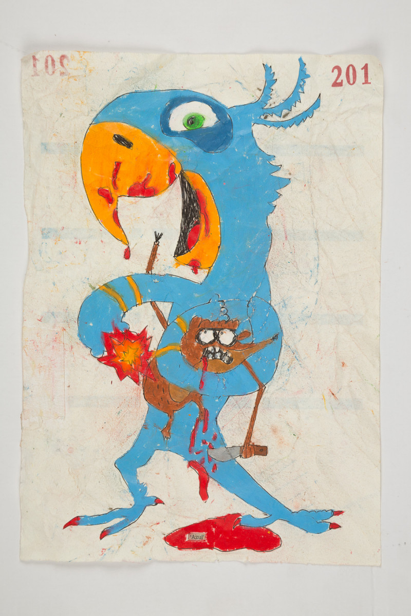 Camilo Restrepo. <em>Azul</em>, 2021. Water-soluble wax pastel, ink, tape and saliva on paper 11 3/4 x 8 1/4 inches (29.8 x 21 cm)