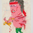 Camilo Restrepo. <em>Rasguño</em>, 2021. Water-soluble wax pastel, ink, tape and saliva on paper 11 3/4 x 8 1/4 inches (29.8 x 21 cm) thumbnail
