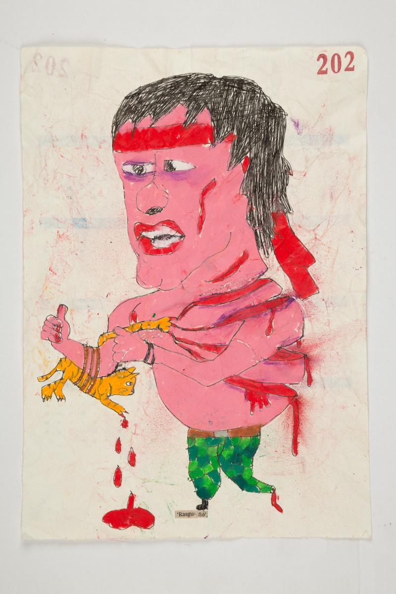 Camilo Restrepo. <em>Rasguño</em>, 2021. Water-soluble wax pastel, ink, tape and saliva on paper 11 3/4 x 8 1/4 inches (29.8 x 21 cm)