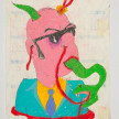 Camilo Restrepo. <em>Tavo</em>, 2021. Water-soluble wax pastel, ink, tape and saliva on paper 11 3/4 x 8 1/4 inches (29.8 x 21 cm) thumbnail