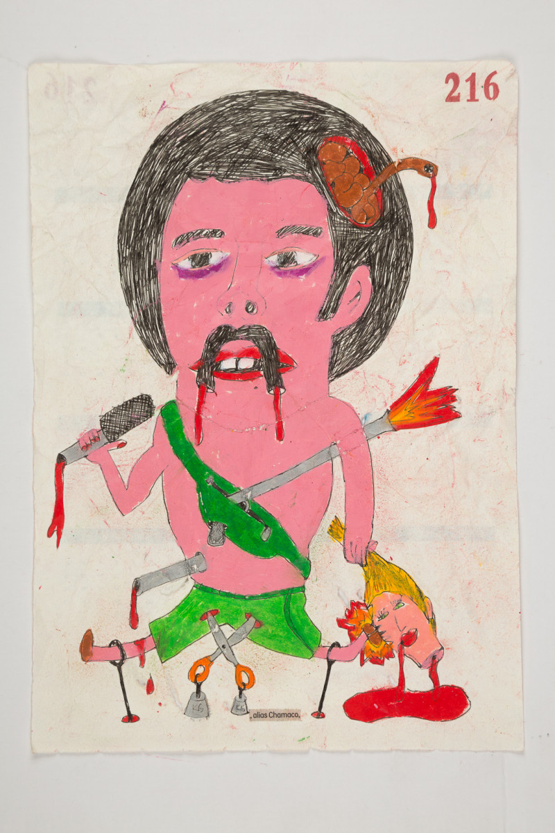 Camilo Restrepo. <em>Chamaco</em>, 2021. Water-soluble wax pastel, ink, tape and saliva on paper 11 3/4 x 8 1/4 inches (29.8 x 21 cm)