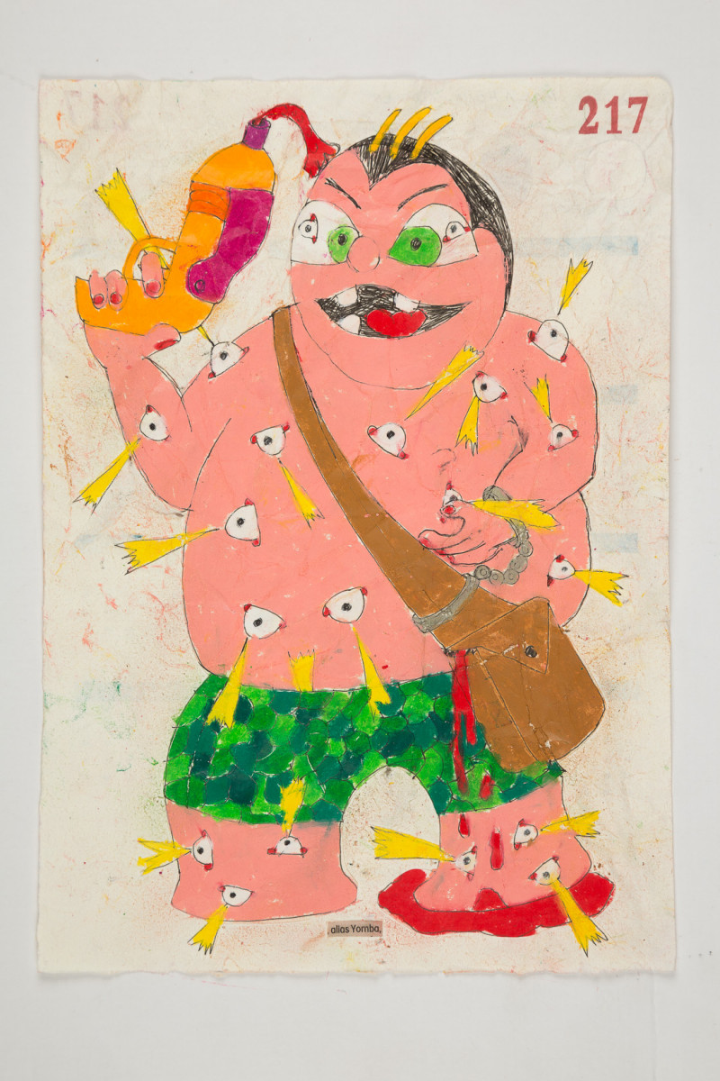 Camilo Restrepo. <em>Yomba</em>, 2021. Water-soluble wax pastel, ink, tape and saliva on paper 11 3/4 x 8 1/4 inches (29.8 x 21 cm)