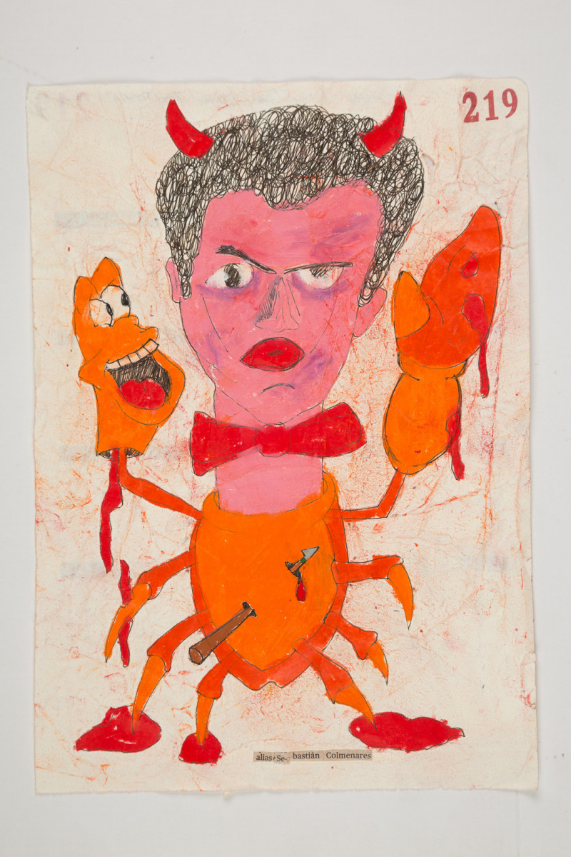 Camilo Restrepo. <em>Sabastiàn Colmenares</em>, 2021. Water-soluble wax pastel, ink, tape and saliva on paper 11 3/4 x 8 1/4 inches (29.8 x 21 cm)