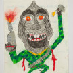 Camilo Restrepo. <em>Macaco</em>, 2021. Water-soluble wax pastel, ink, tape and saliva on paper 11 3/4 x 8 1/4 inches (29.8 x 21 cm) thumbnail