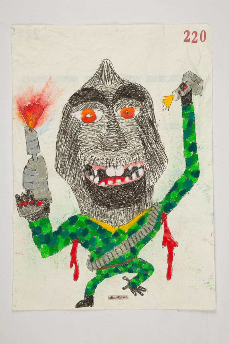 Camilo Restrepo. <em>Macaco</em>, 2021. Water-soluble wax pastel, ink, tape and saliva on paper 11 3/4 x 8 1/4 inches (29.8 x 21 cm)