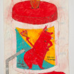 Camilo Restrepo. <em>Diablo Rojo</em>, 2021. Water-soluble wax pastel, ink, tape and saliva on paper 11 3/4 x 8 1/4 inches (29.8 x 21 cm) thumbnail