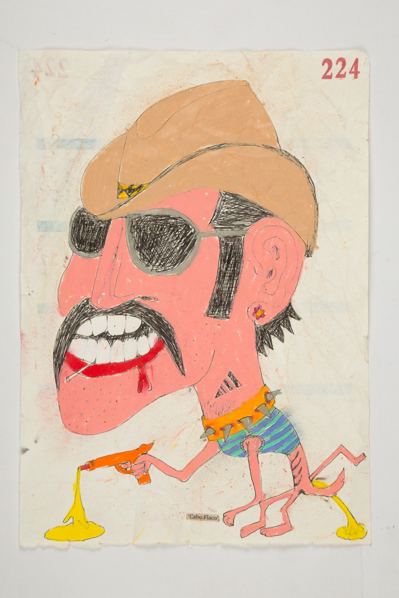 Camilo Restrepo. <em>Cabo Flaco</em>, 2021. Water-soluble wax pastel, ink, tape and saliva on paper 11 3/4 x 8 1/4 inches (29.8 x 21 cm)