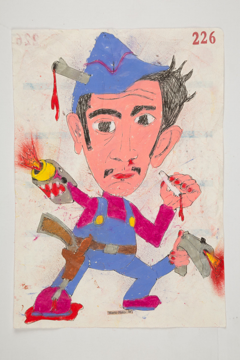 Camilo Restrepo. <em>Mario Pistola</em>, 2021. Water-soluble wax pastel, ink, tape and saliva on paper 11 3/4 x 8 1/4 inches (29.8 x 21 cm)