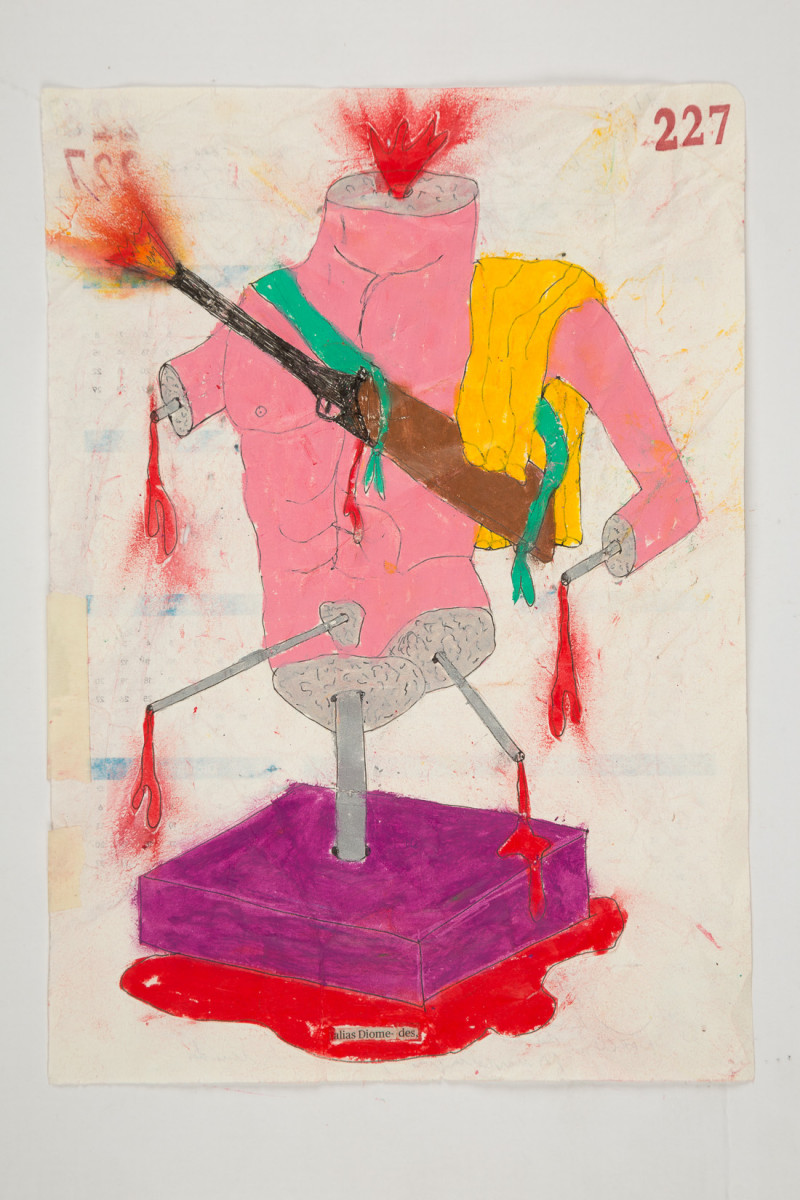 Camilo Restrepo. <em>Diomedes</em>, 2021. Water-soluble wax pastel, ink, tape and saliva on paper 11 3/4 x 8 1/4 inches (29.8 x 21 cm)