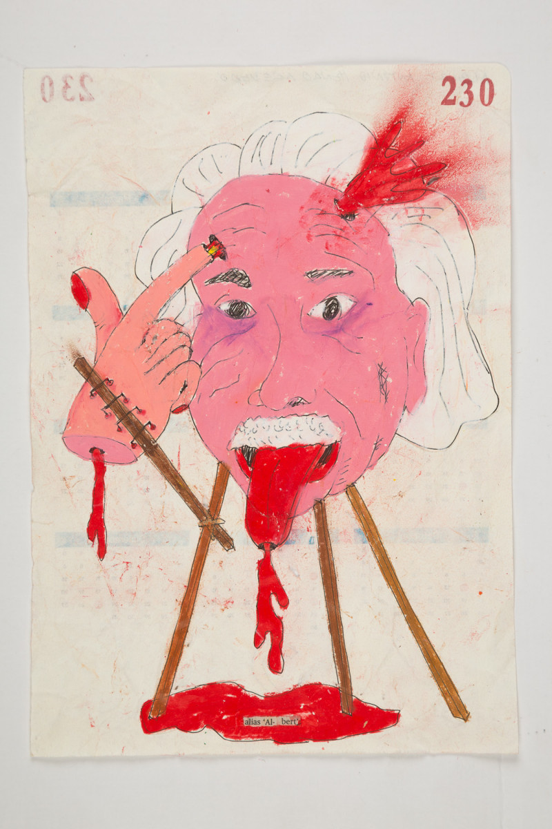 Camilo Restrepo. <em>Albert</em>, 2021. Water-soluble wax pastel, ink, tape and saliva on paper 11 3/4 x 8 1/4 inches (29.8 x 21 cm)