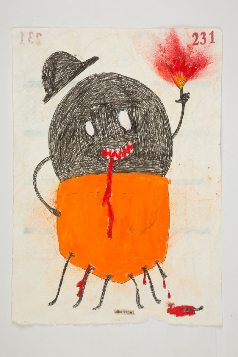 Camilo Restrepo. <em>Tapas</em>, 2021. Water-soluble wax pastel, ink, tape and saliva on paper 11 3/4 x 8 1/4 inches (29.8 x 21 cm)