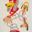 Camilo Restrepo. <em>Cachorro</em>, 2021. Water-soluble wax pastel, ink, tape and saliva on paper 11 3/4 x 8 1/4 inches (29.8 x 21 cm) thumbnail