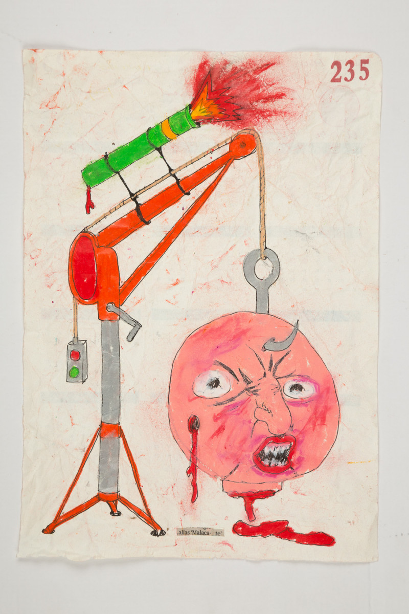Camilo Restrepo. <em>Malacate</em>, 2021. Water-soluble wax pastel, ink, tape and saliva on paper 11 3/4 x 8 1/4 inches (29.8 x 21 cm)