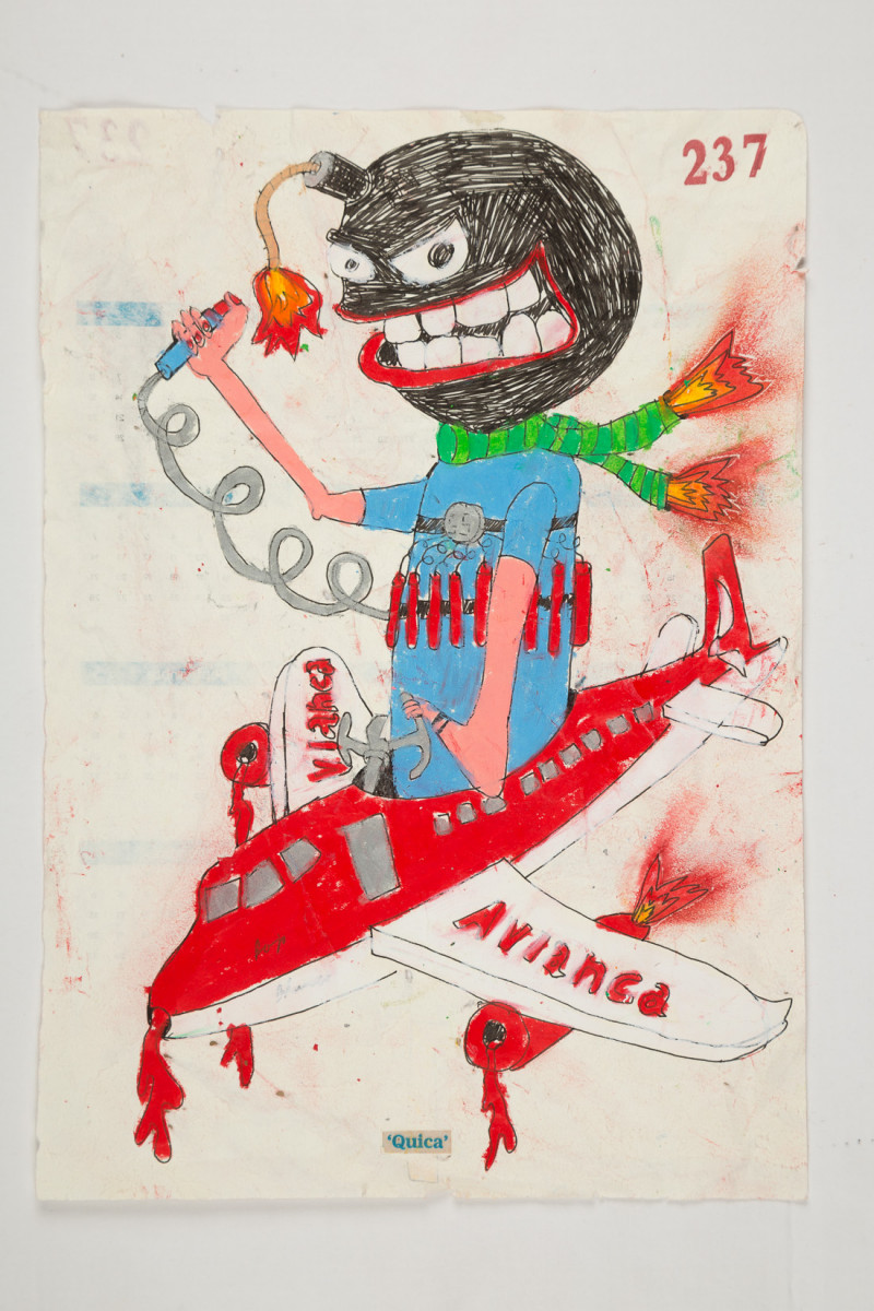 Camilo Restrepo. <em>Quica</em>, 2021. Water-soluble wax pastel, ink, tape and saliva on paper 11 3/4 x 8 1/4 inches (29.8 x 21 cm)
