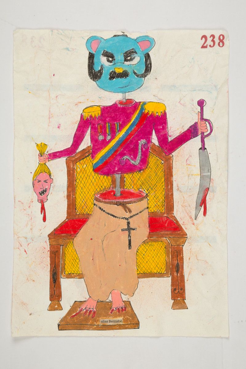 Camilo Restrepo. <em>Bernabè</em>, 2021. Water-soluble wax pastel, ink, tape and saliva on paper 11 3/4 x 8 1/4 inches (29.8 x 21 cm)