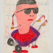 Camilo Restrepo. <em>Doble Rueda</em>, 2021. Water-soluble wax pastel, ink, tape and saliva on paper 11 3/4 x 8 1/4 inches (29.8 x 21 cm) thumbnail