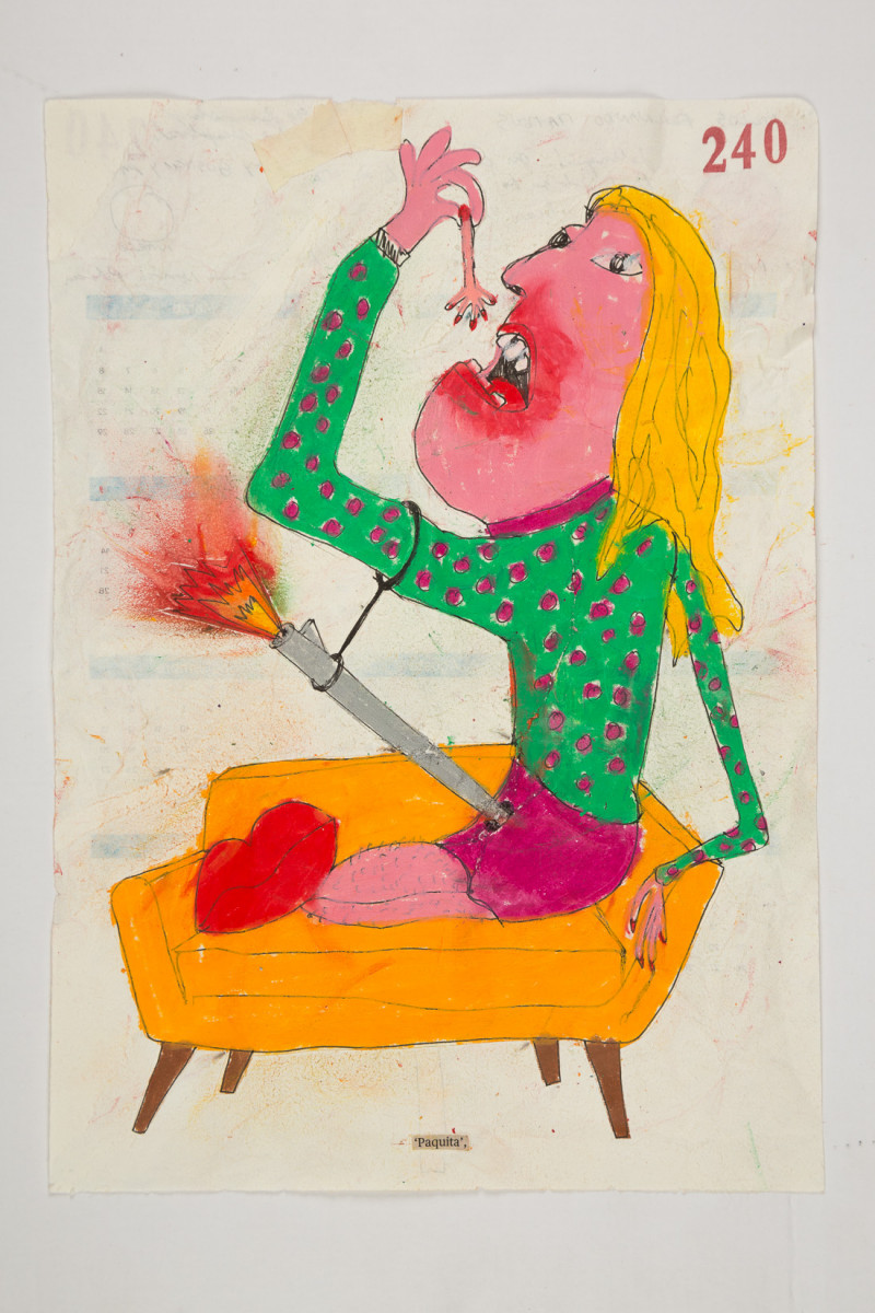 Camilo Restrepo. <em>Paquita</em>, 2021. Water-soluble wax pastel, ink, tape and saliva on paper 11 3/4 x 8 1/4 inches (29.8 x 21 cm)