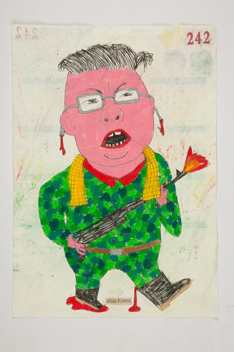 Camilo Restrepo. <em>Korea</em>, 2021. Water-soluble wax pastel, ink, tape and saliva on paper 11 3/4 x 8 1/4 inches (29.8 x 21 cm)