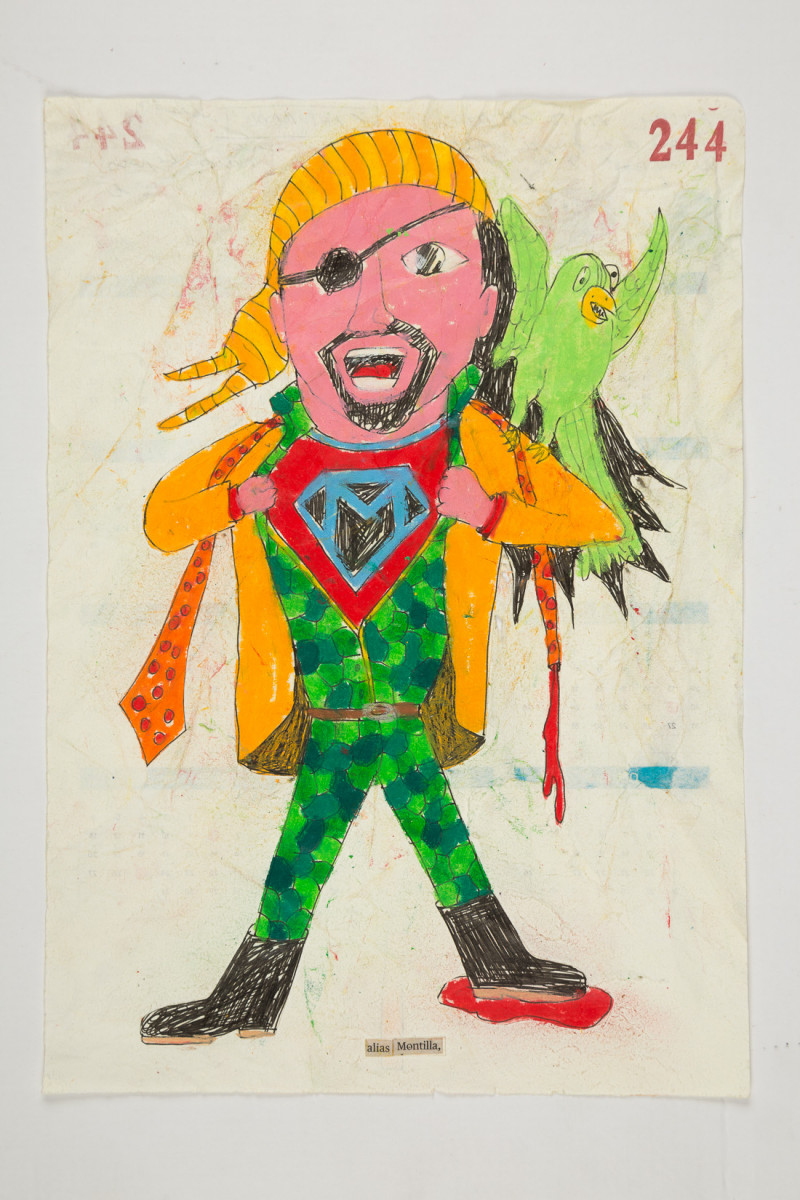 Camilo Restrepo. <em>Montilla</em>, 2021. Water-soluble wax pastel, ink, tape and saliva on paper 11 3/4 x 8 1/4 inches (29.8 x 21 cm)