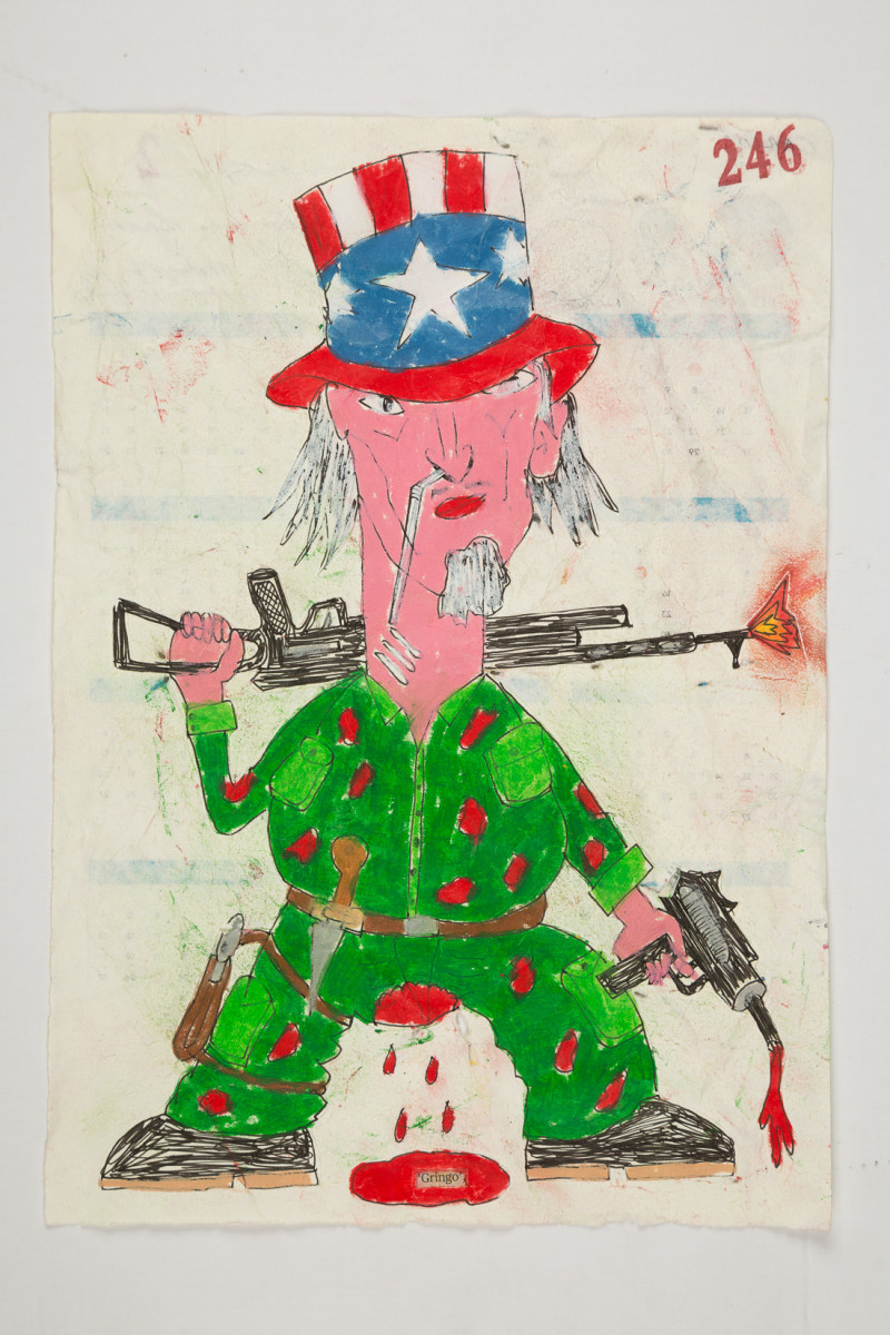 Camilo Restrepo. <em>Gringo</em>, 2021. Water-soluble wax pastel, ink, tape and saliva on paper 11 3/4 x 8 1/4 inches (29.8 x 21 cm)